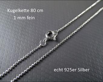 Very fine 925 silver necklace - ball chain 80cm HK925-05