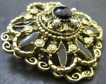 Gold Tone Faux Pearl Enamel Rhinestone Brooch