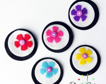 Felt applique, 5 pieces, Felt Flower applique, Felt Flower Embellishment, Craft Supplies, felt die cut, felt brooch, headband supplies