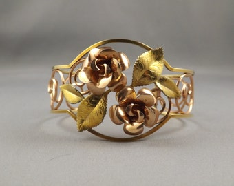 Signed Krementz Yellow and Rose Gold Filled Cuff Bracelet with Two Roses