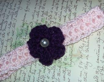 Baby Headband.  Crochet Flower Headband.  Pink Crochet Headband With A Purple Flower.