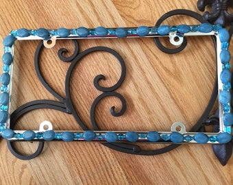 Bling License Plate Frame - Teal stone beads with clear turquoise beads #504968969