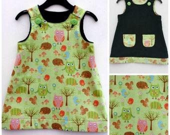 Girls Owl Dress, Girls Squirrel Dress, Gir's Reversible Dress, A line, Girl's Pinafore, Children's Clothing, Girl's Clothing, Play, Toddler