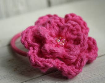 Hot Pink Hair Bobble with Flower Bead