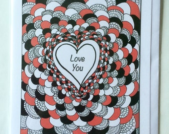 Love You - A5 Blank Greetings Card From Original Drawing