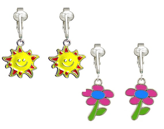 cute yellow sunshine clip on earrings for girls kids bright. Black Bedroom Furniture Sets. Home Design Ideas