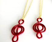 CLEARANCE - Reserved for Josette: Red Wire Music Necklace Duo Lightweight Treble Clef Music Gifts