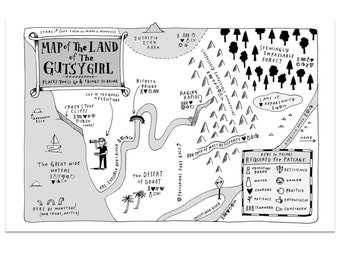 SIGNED! Map of the Land of the Gutsy Girl