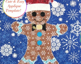 Christmas Applique Designs, Gingerbread Man Applique Template,  Applique Designs, Ginger Bread Man Applique Pattern, Christmas Template