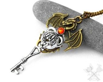 Pumpkin Dragon Key Necklace / Halloween Jewelry / Skeleton Key Necklace / Key to my Heart Necklace / Halloween Necklace / Halloween Costume