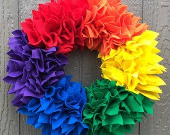Ready to Ship Wreath - Rainbow Wreath - Felt Wreath - Rag Wreath - Bright Wreath - Summer Wreath - Spring Wreath - Pride Wreath