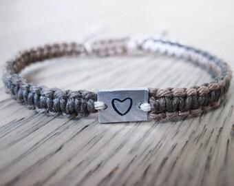 Heart Charm Bracelet, Tiny Heart Bracelet, Cute Heart Bracelet, Hemp Bracelet, Custom Bracelet, Gift for Her, Anniversary Gift