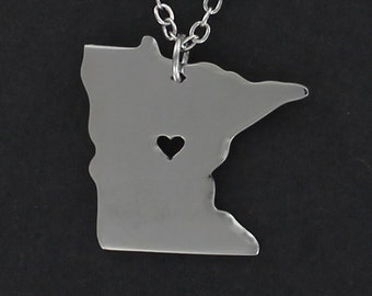 MINNESOTA State Necklace - Tiny Heart Cutout Stainless Charm on a FREE Plated Chain