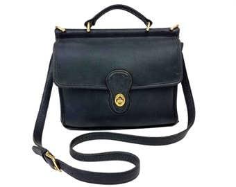 Vintage Coach Navy Leather Purse // Willis Style #9927, Messenger Bag, Top Handle, Adjustable Cross-Body Shoulder Strap, Brass Hardware