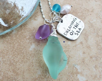 Dreaming fo the sea charm necklace by Inarajewels, wire wrapped Seaglass shell, Lavender sea glass, blue sea glass, freshwater pearl
