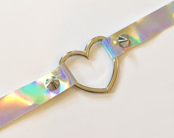 Heart O-ring Holographic Choker