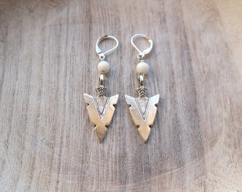 Arrowhead Earrings with White Coral