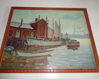 Vintage J.J. ENWRIGHT Lithographic Print of a Watercolor Painting set in the New England Region of a Marine Harbor Scene in Good Condition