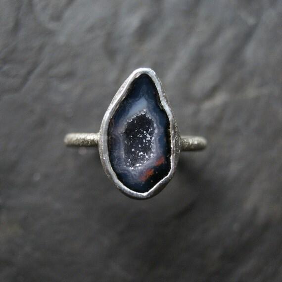 Dark Lavender Geode Ring in Sterling Silver - CUSTOM MADE