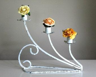vintage white 3 candle holder, vintage wedding, romantic decor, cottage chic, chippy white metal, French decor