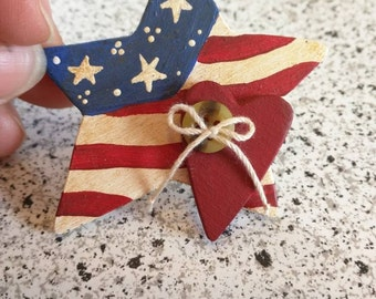 Brooch for USA Independence Day,  4th of July, Hand Made Summer Fun, Red, White, and Blue, Patriotic, Hand Painted Wood, Gift