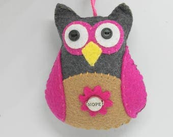 Pink Hope Owl, Felt Owl Ornament, Hope Ornament, Hope Owl Car Charm, Pink Hope Decoration, Stuffed Owl
