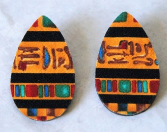 Teardrop Stud Fabric Covered Wood Earrings - Egyptian Gold