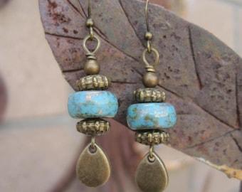 Vintage Blue and Gold Beaded Earrings - Blue and Brass Teardrop Earrings - Boho Chic Blue Earrings - Rustic Boho Earrings