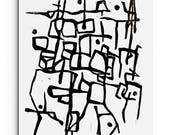 Modern Print - Contemporary Lines Linocut Block Print - Wall Art - Modern Art - Original or Digital Print