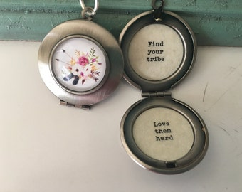 Find your tribe love them hard necklace, tribe locket, silver locket, friendship gift, my tribe, stainless steel.