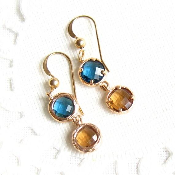 Long Dangle glod Blue & Brown Crystal Earrings