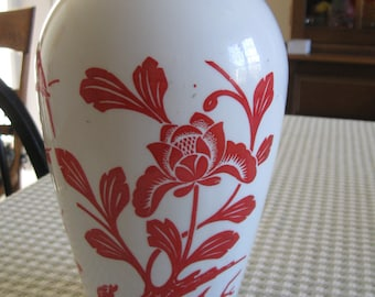 1940s Anchor Hocking Vitrock Milk Glass Vase With Red Birds and Flowers, 9-inch