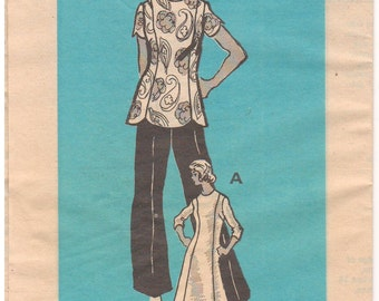 1970s - Annie Adams 4907 Mail Order Vintage Sewing Pattern Size 14 1/2 Bust 37 Dress Top Pants Princess Seams Scallops Uncut