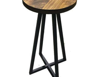 Side table ,solid wood top ,steel base,end table,modern ,industrial
