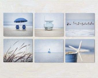 Coastal Wall Art Set of 6 Prints, Cape Cod Artwork, Blue and Tan Artwork, Ocean Photography, Six Photo Collection, Calming Gallery Wall Set