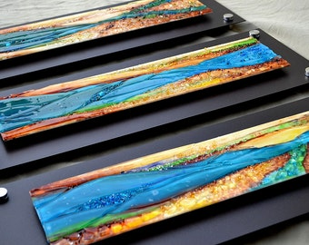 "Made to Order - Renovatus Triptych Fused Glass Wall Hanging Art - Mounted on Steel 9"" x23"" each"