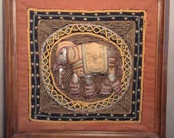 Vintage Burmese beaded and embroidered elephant Kalagas - framed