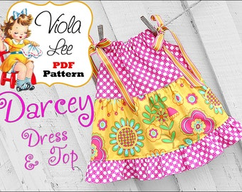 Darcey Toddler Sewing Patterns, pdf Pillowcase Dress Pattern, Pillowcase Top Pattern. Girls Dress Pattern. Girls Pdf Sewing Pattern, Baby