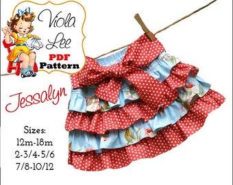 Jessalyn Girl's Skirt Patterns, Ruffle Skirt Patterns, Infant Mini Twirl Skirt Pattern. Toddler Skirt Patterns. Toddler Sewing Pattern, pdf