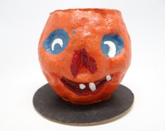 Vintage 1950's Halloween Jack-O-Lantern Candle Holder, Pulp Paper Mache, Candle Novelty by Master Craft