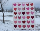 Heart Twin Size Quilt for Sale - one of a kind - pink hearts - handmade quilt - homemade quilt - gift for her - heart decor handmade quilt