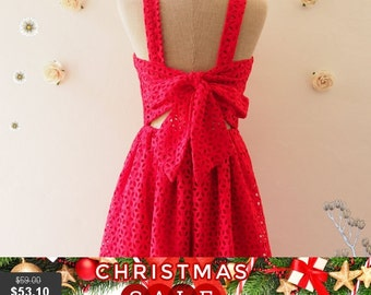 Christmas SALE Short Party Dress Red Lace Dress Red Bridesmaid Dress Backless Dress Lace Cocktail Dress Red Summer Dress - XS-XL, Custom