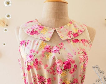 Clearance SALE SALE 30% OFF- Pink Floral Dress Peter Pan Collar Gray Illusion Dress Tea Party Dress Floral Sundress Floral Bridesmaid Dre...