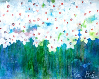 "Abstract Flower Painting White Flowers, Daffodils, Colorful Cheerful ""Narcissus Flower Bed"" 18x24"""