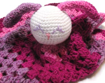 Crochet baby security blanket.  Bunny Lovey.  Pink and purple.  Ready to ship.  New baby gift.  Baby shower.  Girls blanket.