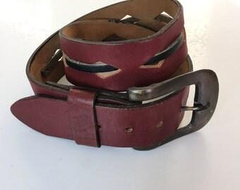 Vintage Oxblood Black Leather Belt 60s 70s Size 30