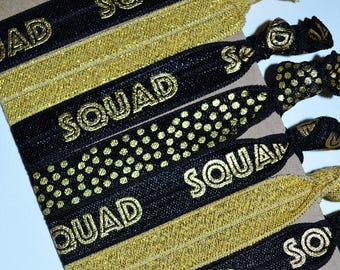 Set of Seven Squad Hair Ties Black Gold BFF Best Friends Gift