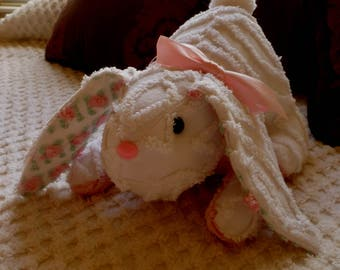 Small Handmade Stuffed Easter Bunny/Rabbit made from Vintage Chenille Bedspread White & Pink