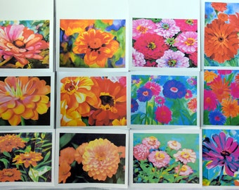 Summer Painted Zinnias Just for You - Notecards