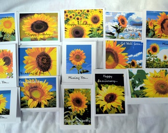 Painted Sunflowers Looking at You - Notecards